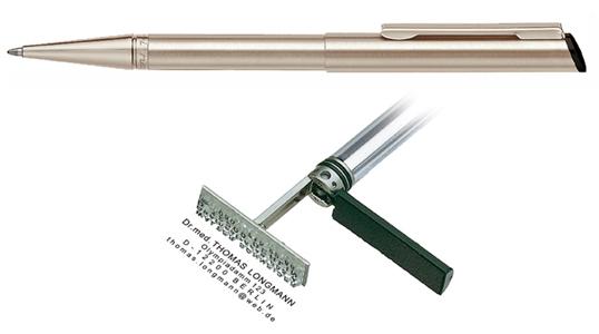 Heri Diagonal Pearl Nickel, kuličkové pero s razítkem