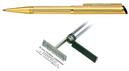 Heri Diagonal Gold, kuličkové pero s razítkem