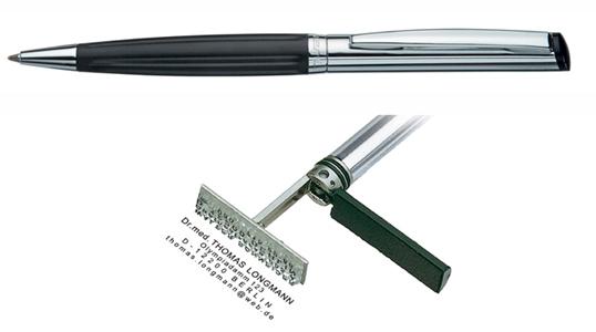 Heri Diagonal Wave Black, kuličkové pero s razítkem