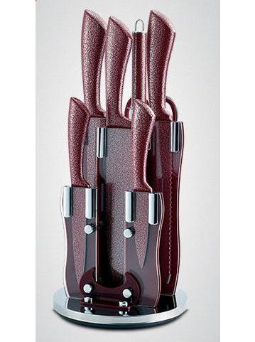 Royalty Line 8-dílná STONE coating sada nožů, nůžek a ocílky RL-KSS8 Barva: červená