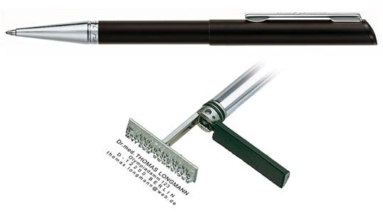 Heri Diagonal Black CT, kuličkové pero s razítkem