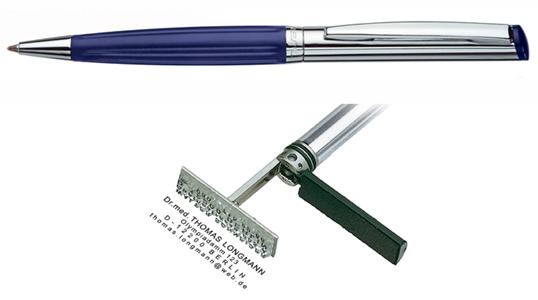 Heri Diagonal Wave Blue, kuličkové pero s razítkem